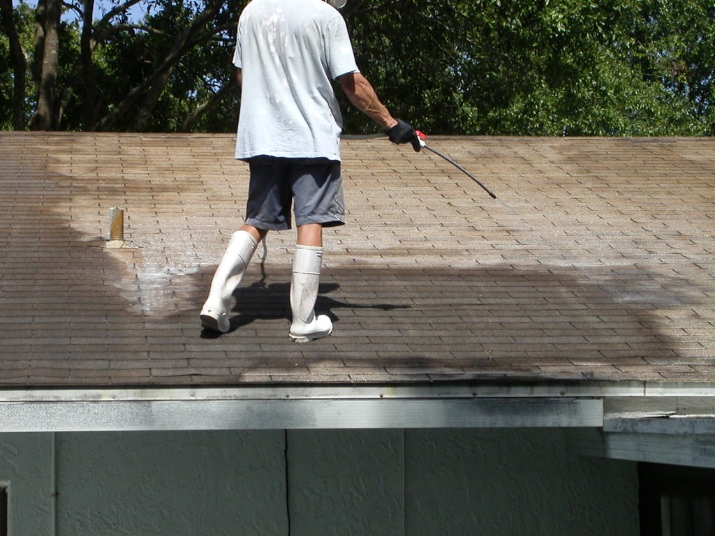 Shingle roof cleaning grime bustersgrime busters - Using water pressure roof cleaning ...